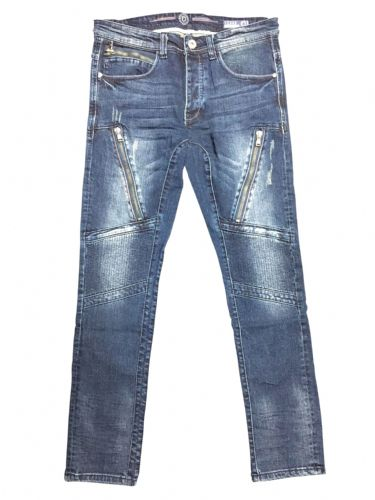 iDenim Mens Stretch Denim Mid Blue Zip  Detail  Slim Tapered Fit